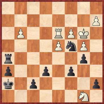 Ortiz - Sebastian: Schwarz droht hier Matt beginnend mit Ta2!, daher musste Weiß mit 34.Kc2 seinen König in Sicherheit bringen
