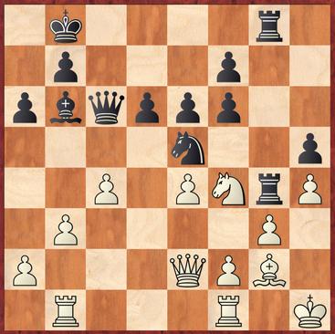 Tietze - Roth: Hier griff Schwarz mutig zu 31. Txf4! verpasste es aber leider nach 32.gxf4 Sg6! 33.Tg1?? mit Sxf4! den Sack zu zumachen.