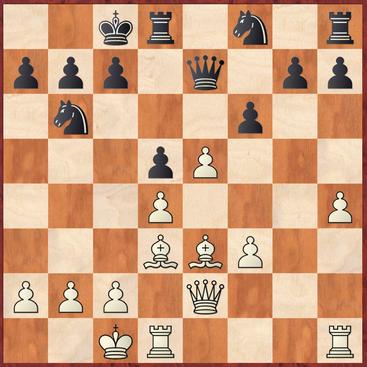 Hoffmann - Bänke: Mit 17.e5! startete Weiß hier die ersten Komplikationen und sackte nach fxe5 mit 18.Lg5 entscheidendes Material ein.