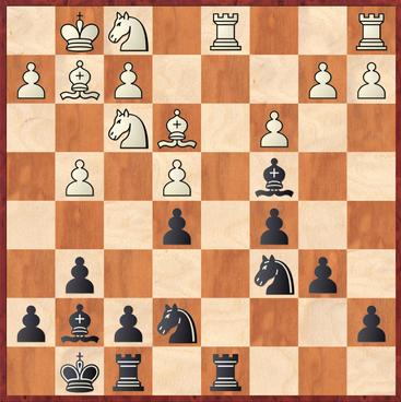 Menz - Mauelshagen: Weiß zog hier 16.Sg3? und verlor nach Txd1 17.Txd1 Lxa2 einen Bauern