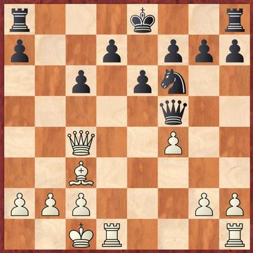 Werner - Lehmann: Schwarz spielte hier stark 15. ... Sd5! und gewann nach 16.Lxg7 Tg8 17.Le5 Se3 eine Qualität