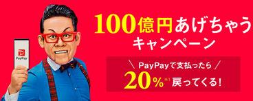 PayPay ペイペイ 20% 戻ってくるキャンペーン(100億円あげちゃう)
