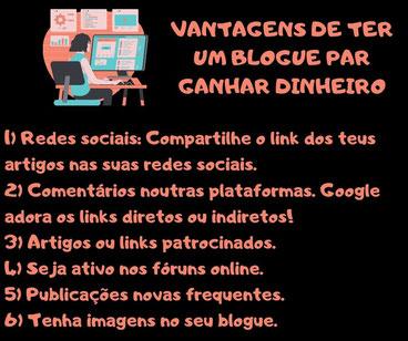 criar blogue ganhar dinheiro Portugal- internet referenciar o seu blogue