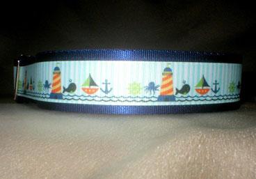 Halsband, Hund, Zugstopp 4cm breit, Gurtband marine-blau, Borte See- und Strandmotive