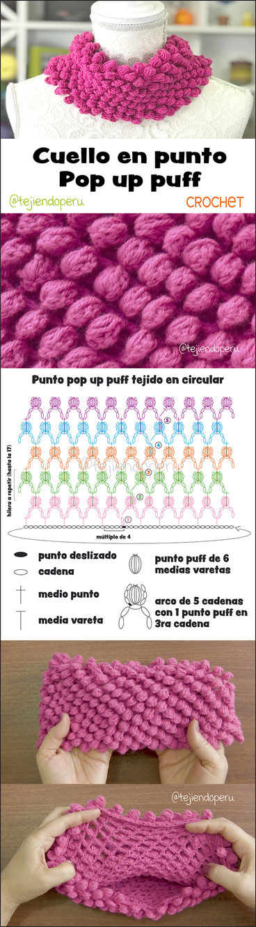 Cuello en punto pop up puff tejido a crochet