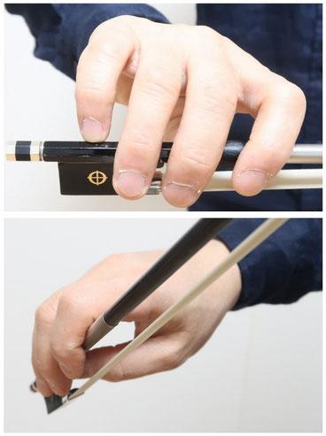 バイオリン フィドル 弓の持ち方