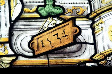 Détail d'un vitrail de l'Eglise Saint-Pierre, daté de 1534