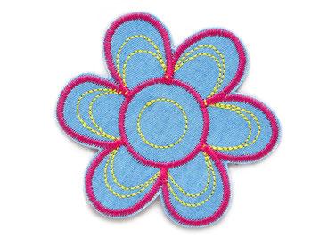 Bild: Blumen Patch hellblau, Blüte Bügelbild gestickt, Retro Flicken zum aufbügeln