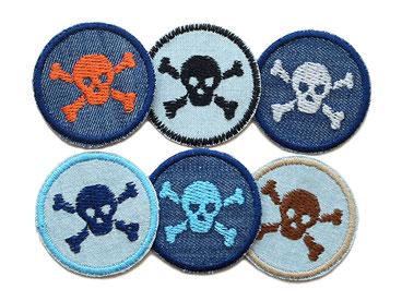 Sparset Jeans patch Totenkopf skull mini Accessoire Erwachsene Kinder Flicken zum aufbügeln