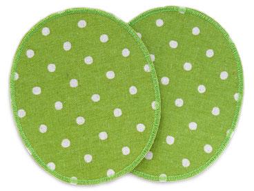 Bild: Set zwei große Knieflicken Hosenflicken Pünktchen grün Accessoire Flicken für Kinder und Erwachsene