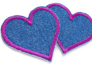 Bild: Jeans Flicken Herz lila Bügelflicken für Mädchen, Knieflicken Applikation zum aufbügeln