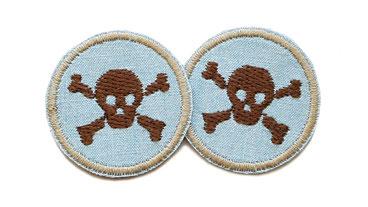 Jeans patch Totenkopf skull mini Accessoire Erwachsene Kinder Flicken zum aufbügeln