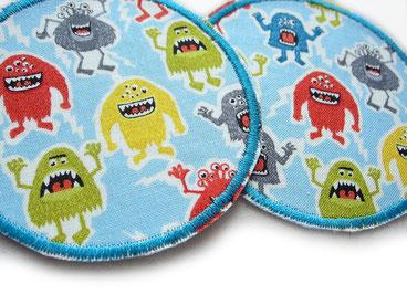 Stoff Flicken zum aufbügeln mit kleinen Monstern, Patch Aufnäher Applikation Monster Hosenflicken Flicken aufbügeln Junge Kinder