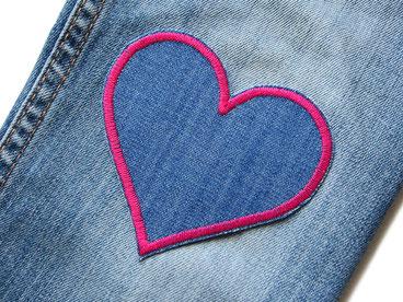 Bild: Jeans Flicken Herz pink Hosenflicken zum aufbügeln dunkelblau pink für Mädchen