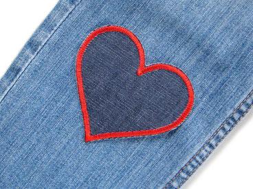 Bild: Jeansflicken Herz rot, Hosenflicken zum aufbügeln dunkelblau,Bügelflicken für Jeanshose