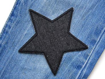 Bild: Jeansflicken Stern schwarz, Knieflicken Bügelflicken