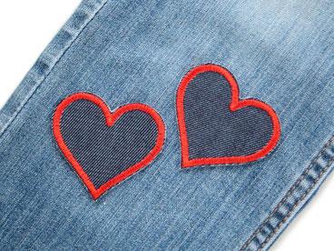 Bild: Set kleine Jeansflicken Herz rot Knieflicken Hosenflicken Applikation zum aufbügeln Doppelpack Mädchen