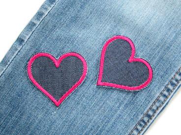 Bild: Set Jeansflicken Herz dunkelblau pink Knieflicken Hosenflicken Applikation zum aufbügeln Doppelpack Mädchen