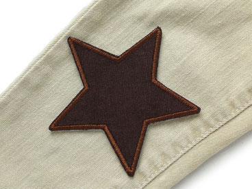 Bild: Cordflicken Stern braun, Aufnäher für Cordhose, Bügelflicken Stern