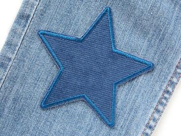 Bild: Stern Cord blau Aufnäher, Cordflicken zum aufbügeln
