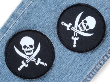 Bild: Piraten Totenkopf Aufnäher Applikation Bügelbild Patch zum aufbügeln für Jungen