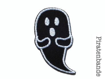 Bild: Gespenst schwarz Geist Bügelbild Applikation Aufnäher patch Aufbügler