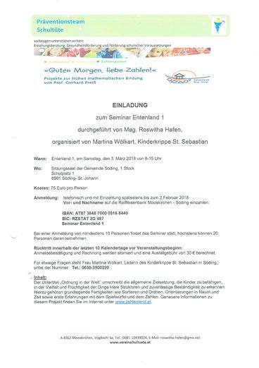 Einladung zum Seminar Entenland 1 mit Roswitha Hafen in der Kinderkrippe St. Sebastian in Söding.
