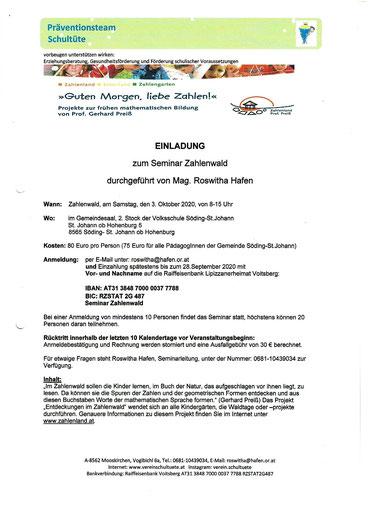 """Einladung zum Seminar """"Zahlenwald"""" in Söding St. Johann, organisiert über den Verein Schultüte."""