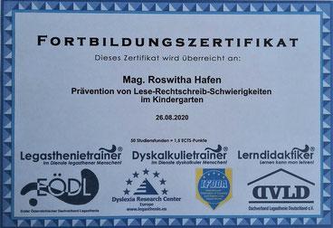 26.08.2020: Fortbildung zum Thema Prävention von Lese-Rechtschreibschwierigkeiten im Kindergarten positiv abgeschlossen.