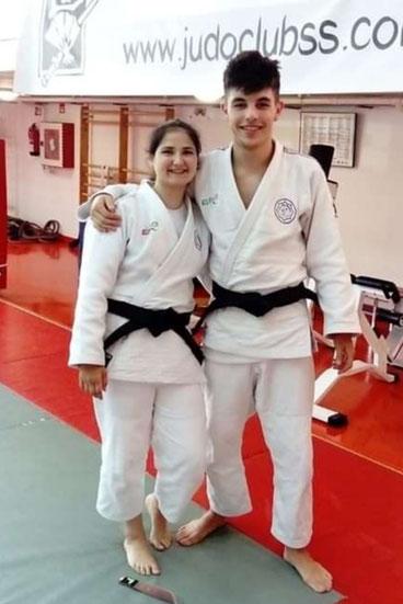 Janire Díez y Josu Mardaras ambos del Judo Club Gerbolés