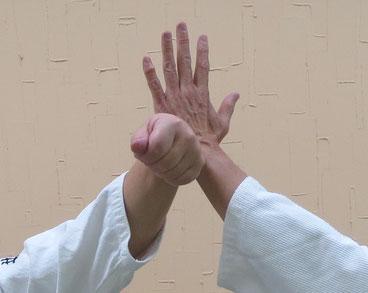 ①陰の陽で上段に与え、受けは手刀で中心を守る。