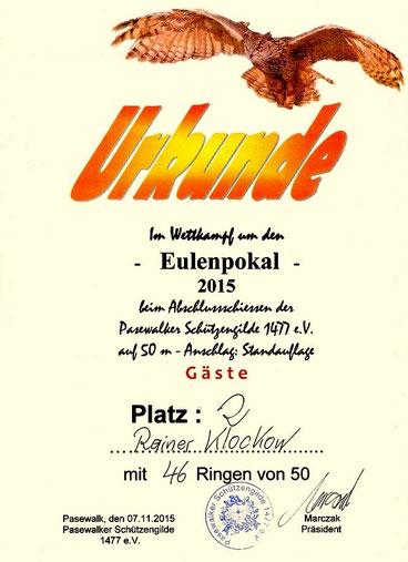 Urkunde vom Eulenpokal 2015 des Pasewalker Schützengilden 1477 e.V.