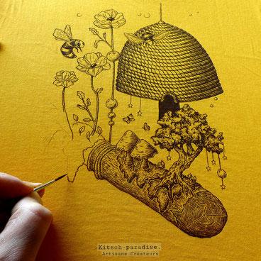 Kitsch, paradise, artisan, créateur, art, abeille, ruche