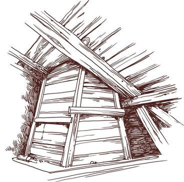 Une grande cheminée de nos maisons combières. En bois, elle tra- verse tout le bâtiment pour s'ouvrir sur le toit où on peut la fermer  avec deux volets mobiles. A l'intérieur elle est naturellement toute  noire de suie.