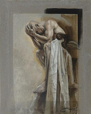 """F.Martin© étude préparatoire pour """"L'Abîme"""" Huile sur toile 33X41"""