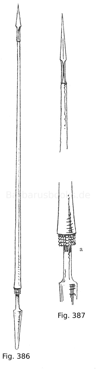 Fig. 386. Reisspieß ohne Brechscheibe, mit den Ringen aus Stahlkugeln am Handgriff. 15. Jahrhundert. Nach Viollet-le Duc.