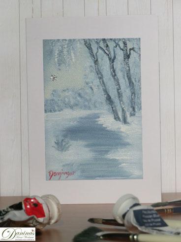 Weihnachtskarten basteln. Selbst gemalte Bilder für ganz besondere Weihnachtsgrüße. Mehr Ideen auf www.daninas-kunst-werkstatt.at