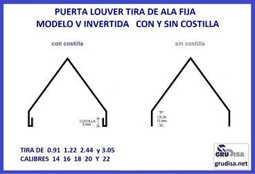 PUERTA LOUVER (TIRA DE ALA FIJA) V INVERTIDA PARA 8 ESPESORES DE PERFIL, EN 6 CALIBRES CON 4 TAMAÑOS DE LARGO