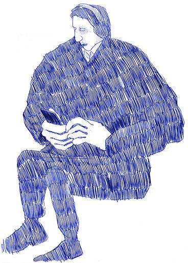 Mann; Smartphone; Kugelschreiber; Zeichnung; Blau
