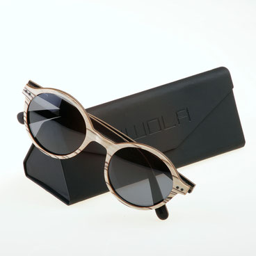 Sonnenbrille Holz Rund weißes Zebraholz