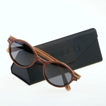 Sonnenbrille Holz Rund rotes Koso