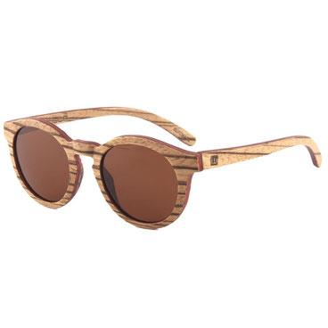 Sonnenbrille Holz Rund Zebraholz