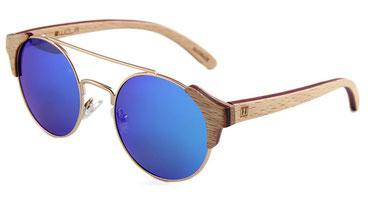 Sonnenbrille Holz Rund verspiegelt blau 2018