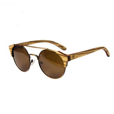 Sonnenbrille Holz Rund Zebraholz blau 2018