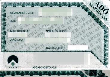 Налоговая карта - ADÓ IGAZOLVÁNY