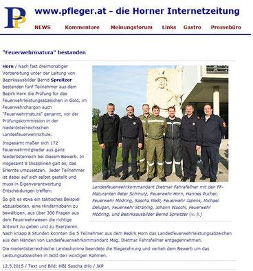 Horner Internetzeitung pfleger.at vom 12.05.2015
