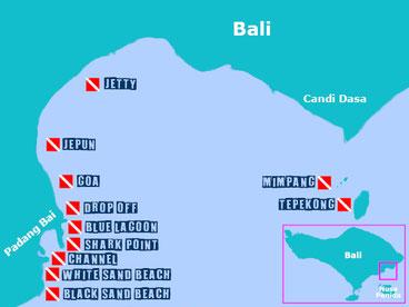 Carte du site de plongée de Amuk bay à Padang Bai, candi dasa. Bali.