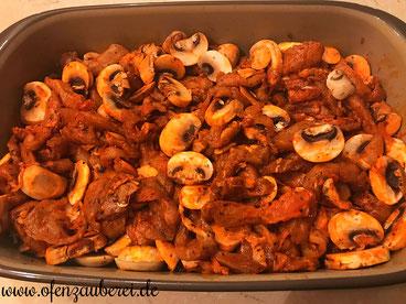 Griechisches Gericht Ofen Gyros mit Metaxasoße in der Ofenhexe oder Ofenmeister von Pampered Chef aus dem Onlineshop