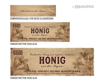 Honigetiketten, Vintage Honigetikett, Honigglasetiketten, Etikettendesign, Etiketten, Imker, Honiggläser, Honig Labels, Vintage Lable