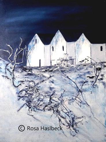 Acrylbild, acryl, winter, winterlandschaft, dextilien, blau, weiß, collage, bild, malen, malerei, kunst, deko, dekoration, wandbild, abstrakt